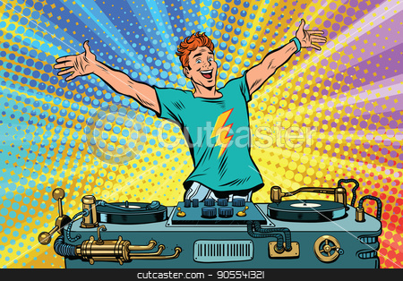 DJ on a club party stock vector clipart, DJ on a club party. Pop art retro comic book vector illustration. Music and concert by studiostoks