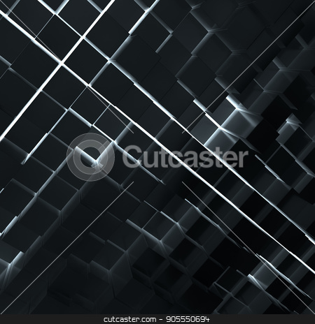 Abstract background from dark cubes stock photo, Abstract background from dark cubes. Light between cubes. 3D rendering by cherezoff
