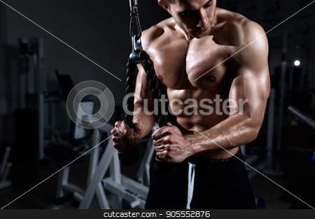 Muscular man training triceps in the gym stock photo, Muscular young man training triceps in the gym by Igor Kopakov