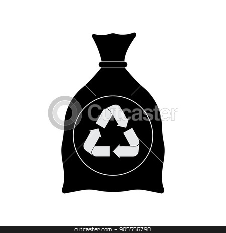 Garbage bag cartoon icon stock vector clipart, Garbage bag icon flat vector illustration isolated on white background by Rokvel