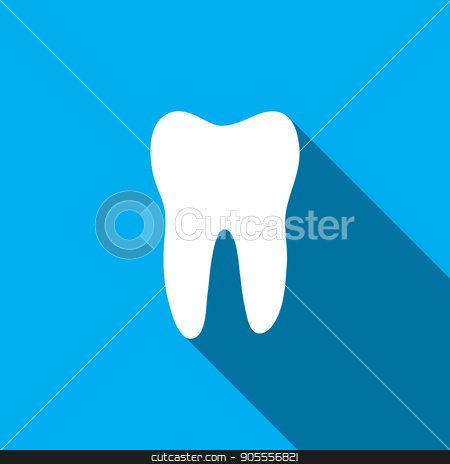 Tooth vector icon stock vector clipart, Teeth icon dentist flat vector sign symbol. For mobile user interface by Rokvel