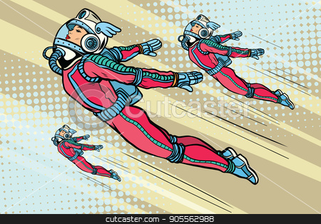 Girl superhero flying in a futuristic space suit stock vector clipart, Girl superhero flying in a futuristic space suit. Pop art retro vector illustration by studiostoks