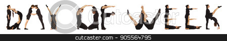 Black dressed people forming word DAY OF WEEK stock photo, Black dressed people forming word DAY OF WEEK on white background by Tatjana Romanova