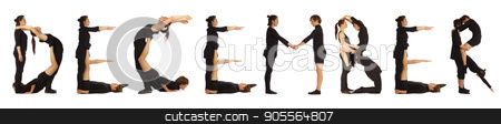 Black dressed people forming word DECEMBER stock photo, Black dressed people forming word DECEMBER on white background by Tatjana Romanova