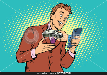 E-Commerce online payment, businessman and smartphone stock vector clipart, E-Commerce online payment, businessman and smartphone. Pop art retro vector illustration by studiostoks