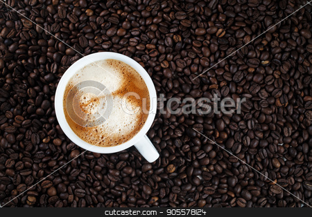 Hot delicious coffee stock photo, Hot delicious coffee. Espresso cup on coffee beans background. by Veresovich