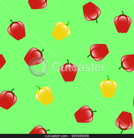 Fresh Red Yellow Seamless Pattern stock vector clipart, Fresh Red Yellow Seamless Pattern on Green Background by valeo5