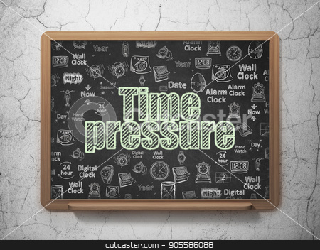 Timeline concept: Time Pressure on School board background stock photo, Timeline concept: Chalk Green text Time Pressure on School board background with  Hand Drawing Time Icons, 3D Rendering by mkabakov