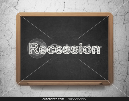 Finance concept: Recession on chalkboard background stock photo, Finance concept: text Recession on Black chalkboard on grunge wall background, 3D rendering by mkabakov
