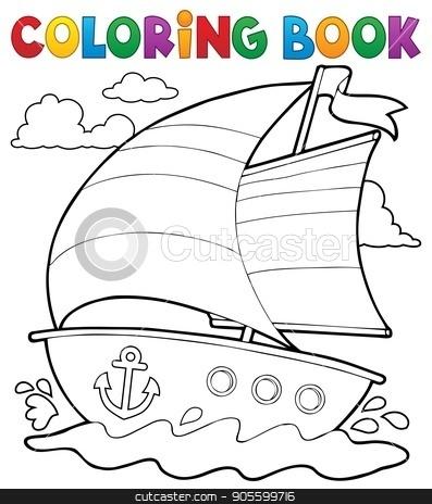 Coloring book nautical boat 1 stock vector clipart, Coloring book nautical boat 1 - eps10 vector illustration. by Klara Viskova