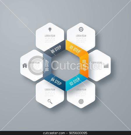 Vector illustration infographics six options stock vector clipart, Vector illustration infographics six options. Template for brochure, business, web design by Amelisk