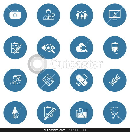 Medical and Health Care Icons Set. Flat Design. stock vector clipart, Medical and Health Care Icons Set. Flat Design. Isolated. by Vadym Nechyporenko