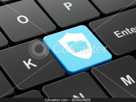 Business concept: Folder With Shield on computer keyboard background stock photo, Business concept: computer keyboard with Folder With Shield icon on enter button background, 3D rendering by mkabakov
