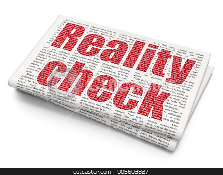 Finance concept: Reality Check on Newspaper background stock photo, Finance concept: Pixelated red text Reality Check on Newspaper background, 3D rendering by mkabakov