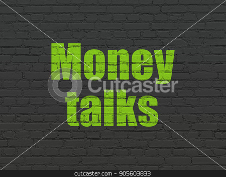 Business concept: Money Talks on wall background stock photo, Business concept: Painted green text Money Talks on Black Brick wall background by mkabakov