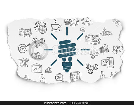 Business concept: Energy Saving Lamp on Torn Paper background stock photo, Business concept: Painted blue Energy Saving Lamp icon on Torn Paper background with  Hand Drawn Business Icons by mkabakov