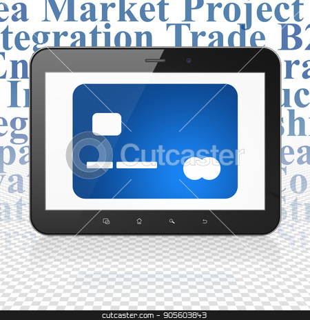 Business concept: Tablet Computer with Credit Card on display stock photo, Business concept: Tablet Computer with  blue Credit Card icon on display,  Tag Cloud background, 3D rendering by mkabakov
