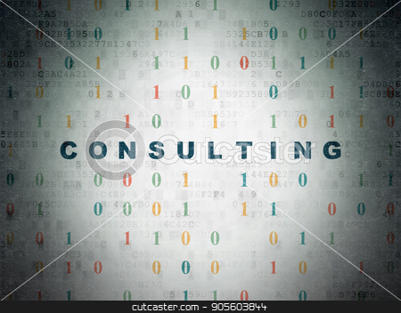 Business concept: Consulting on Digital Data Paper background stock photo, Business concept: Painted blue text Consulting on Digital Data Paper background with Binary Code by mkabakov