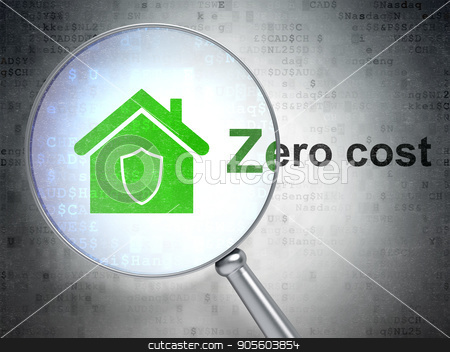 Finance concept: Home and Zero cost with optical glass stock photo, Finance concept: magnifying optical glass with Home icon and Zero cost word on digital background, 3D rendering by mkabakov