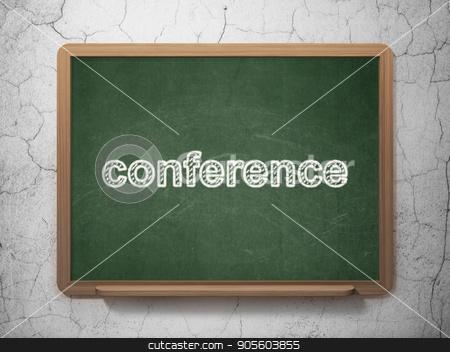 Business concept: Conference on chalkboard background stock photo, Business concept: text Conference on Green chalkboard on grunge wall background, 3D rendering by mkabakov
