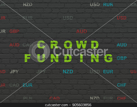 Business concept: Crowd Funding on wall background stock photo, Business concept: Painted green text Crowd Funding on Black Brick wall background with Currency by mkabakov