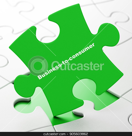 Business concept: Business-to-consumer on puzzle background stock photo, Business concept: Business-to-consumer on Green puzzle pieces background, 3D rendering by mkabakov