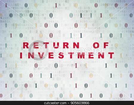 Finance concept: Return of Investment on Digital Data Paper background stock photo, Finance concept: Painted red text Return of Investment on Digital Data Paper background with Binary Code by mkabakov