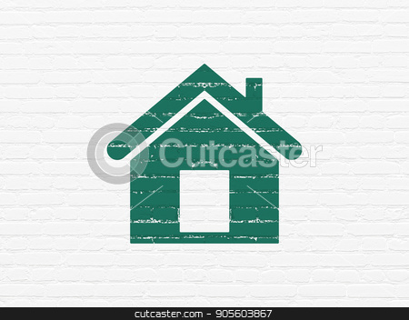 Finance concept: Home on wall background stock photo, Finance concept: Painted green Home icon on White Brick wall background by mkabakov