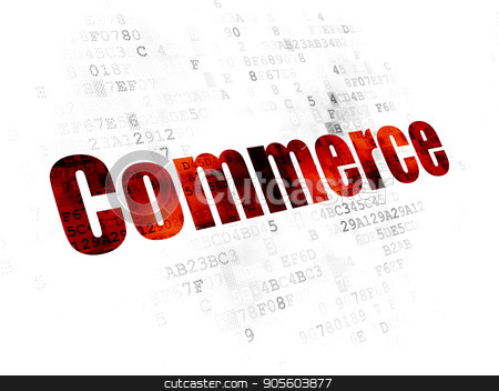 Business concept: Commerce on Digital background stock photo, Business concept: Pixelated red text Commerce on Digital background by mkabakov