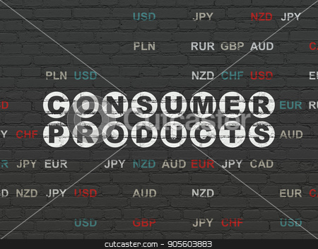 Finance concept: Consumer Products on wall background stock photo, Finance concept: Painted white text Consumer Products on Black Brick wall background with Currency by mkabakov