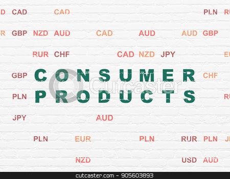Finance concept: Consumer Products on wall background stock photo, Finance concept: Painted green text Consumer Products on White Brick wall background with Currency by mkabakov