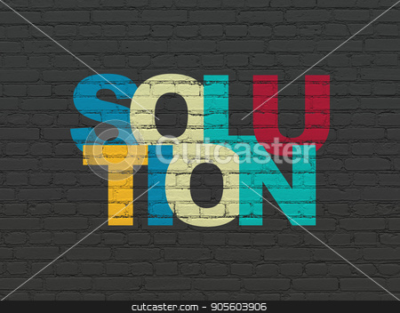 Finance concept: Solution on wall background stock photo, Finance concept: Painted multicolor text Solution on Black Brick wall background by mkabakov