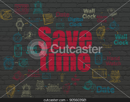Timeline concept: Save Time on wall background stock photo, Timeline concept: Painted red text Save Time on Black Brick wall background with Scheme Of Hand Drawing Time Icons by mkabakov