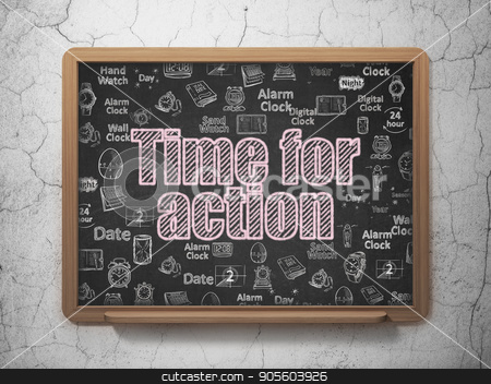 Time concept: Time for Action on School board background stock photo, Time concept: Chalk Pink text Time for Action on School board background with  Hand Drawing Time Icons, 3D Rendering by mkabakov