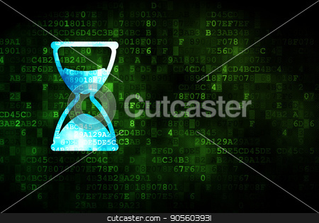 Timeline concept: Hourglass on digital background stock photo, Timeline concept: pixelated Hourglass icon on digital background, empty copyspace for card, text, advertising by mkabakov