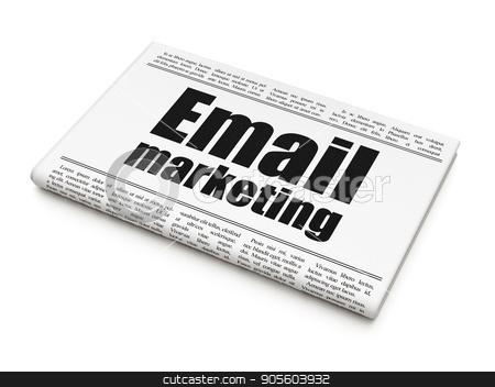 Marketing concept: newspaper headline Email Marketing stock photo, Marketing concept: newspaper headline Email Marketing on White background, 3D rendering by mkabakov