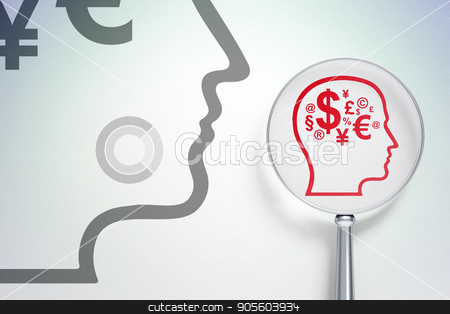 Marketing concept:  Head With Finance Symbol with optical glass on digital background stock photo, Marketing concept: magnifying optical glass with Head With Finance Symbol icon on digital background, empty copyspace for card, text, advertising, 3D rendering by mkabakov
