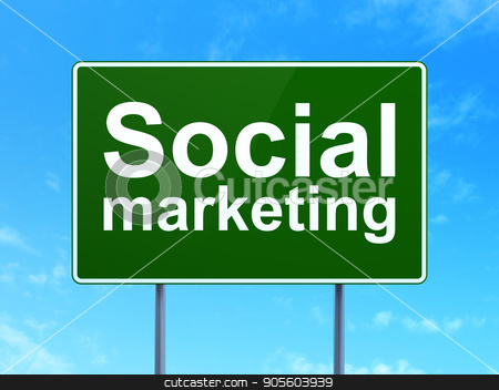 Advertising concept: Social Marketing on road sign background stock photo, Advertising concept: Social Marketing on green road highway sign, clear blue sky background, 3D rendering by mkabakov