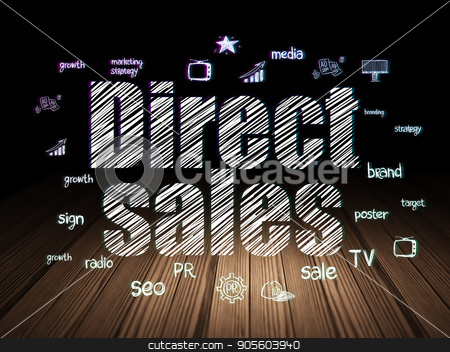 Advertising concept: Direct Sales in grunge dark room stock photo, Advertising concept: Glowing text Direct Sales,  Hand Drawn Marketing Icons in grunge dark room with Wooden Floor, black background by mkabakov