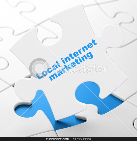 Marketing concept: Local Internet Marketing on puzzle background stock photo, Marketing concept: Local Internet Marketing on White puzzle pieces background, 3D rendering by mkabakov