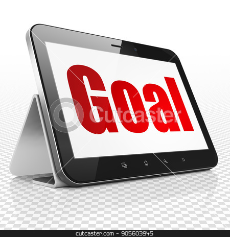 Advertising concept: Tablet Computer with Goal on display stock photo, Advertising concept: Tablet Computer with red text Goal on display, 3D rendering by mkabakov