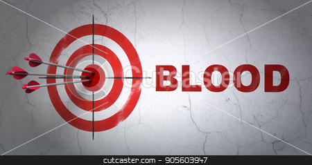 Health concept: target and Blood on wall background stock photo, Success Health concept: arrows hitting the center of target, Red Blood on wall background, 3D rendering by mkabakov