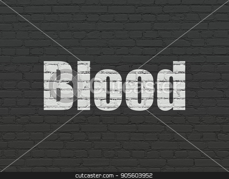 Healthcare concept: Blood on wall background stock photo, Healthcare concept: Painted white text Blood on Black Brick wall background by mkabakov