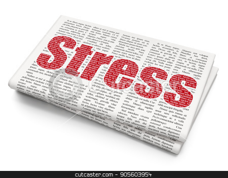 Health concept: Stress on Newspaper background stock photo, Health concept: Pixelated red text Stress on Newspaper background, 3D rendering by mkabakov