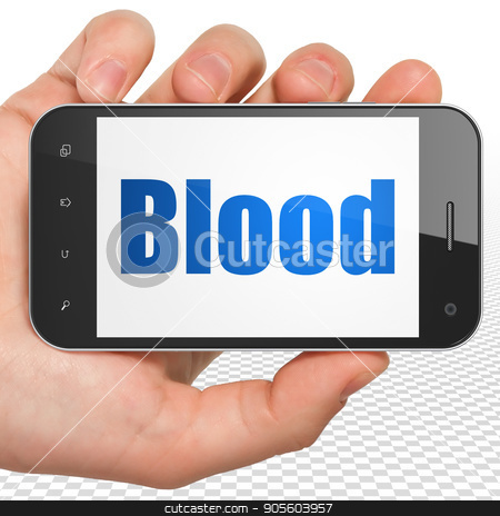 Medicine concept: Hand Holding Smartphone with Blood on display stock photo, Medicine concept: Hand Holding Smartphone with blue text Blood on display, 3D rendering by mkabakov
