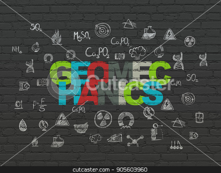 Science concept: Geomechanics on wall background stock photo, Science concept: Painted multicolor text Geomechanics on Black Brick wall background with  Hand Drawn Science Icons by mkabakov