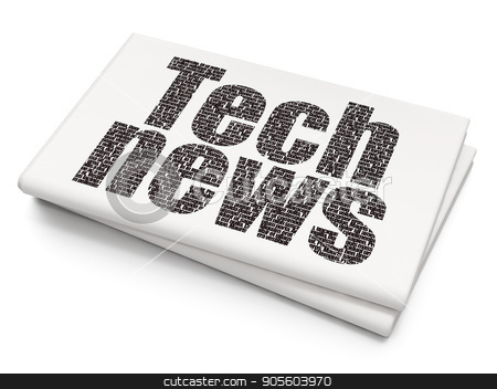 News concept: Tech News on Blank Newspaper background stock photo, News concept: Pixelated black text Tech News on Blank Newspaper background, 3D rendering by mkabakov
