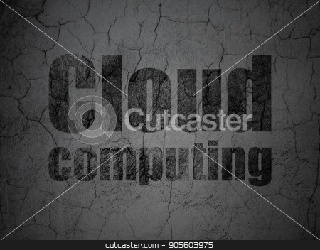 Cloud technology concept: Cloud Computing on grunge wall background stock photo, Cloud technology concept: Black Cloud Computing on grunge textured concrete wall background by mkabakov