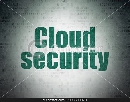 Cloud technology concept: Cloud Security on Digital Data Paper background stock photo, Cloud technology concept: Painted green word Cloud Security on Digital Data Paper background by mkabakov