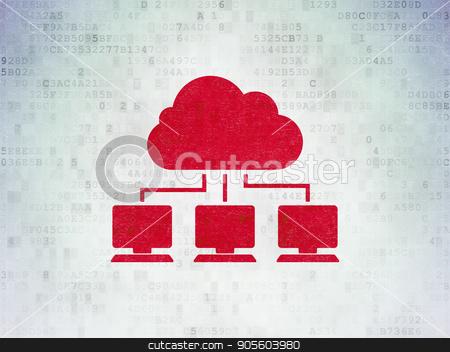 Cloud technology concept: Cloud Network on Digital Data Paper background stock photo, Cloud technology concept: Painted red Cloud Network icon on Digital Data Paper background by mkabakov
